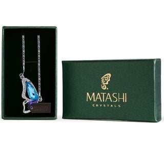Matashi Rhodium-Plated Purple and Blue Crystal Butterfly Wing 16-Inch Extendable Chain Necklace