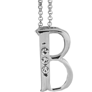 Matashi 'B' Initial Silvertone Rhodium-plated with Crystal Necklace