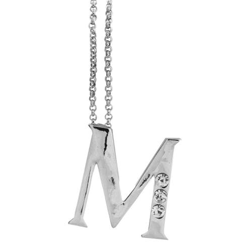 """Rhodium Plated Necklace with Personalized Letter """"M"""" Initial Design with a 16"""" and High Quality Clear Crystals by Matashi"""
