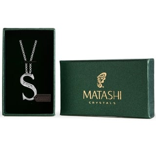 Matashi Rhodium-plated and Crystal Personalized Letter 'S' Necklace With 16-inch Extendable Chain
