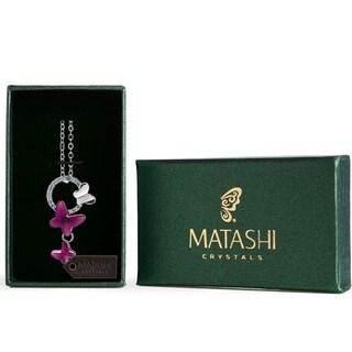 Matashi Silver Overlay Purple Crystal Butterflies Necklace