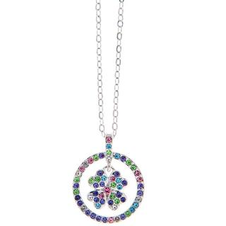 Matashi Silver Overlay Multicolored Crystals Necklace