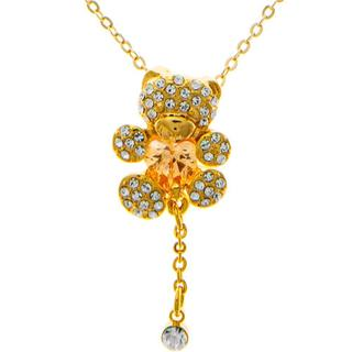 Matashi MTJN481GO Champagne Gold-plated Necklace with Teddy Bear Design with 16-inch Extendable Chain