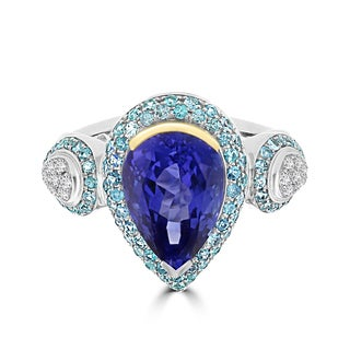 La Vita Vital 18k Two-Tone 5.2cts Tanzanite Paraiba Tourmaline and Diamond Ring