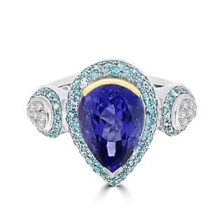 La Vita Vital 18k Two-Tone 5.2cts Tanzanite Paraiba Tourmaline and Diamond Ring|https://ak1.ostkcdn.com/images/products/13957214/P20586454.jpg?impolicy=medium