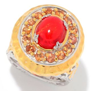 Michael Valitutti Palladium Silver Red Opal and Orange Sapphire Ring