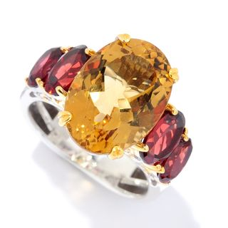 Michael Valitutti Palladium Silver Citrine & Rhodolite Garnet Five-Stone Ring