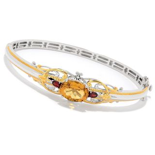Michael Valitutti Palladium Silver Citrine & Garnet Hinged Bangle Bracelet