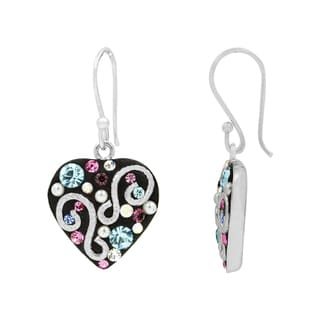 Multicolored Silver over Brass Crystal Heart Earrings