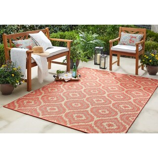 "Mohawk Home Oasis Morro Indoor/Outdoor Area Rug (10'6 x 14') - 10' 6""x14' (Option: Coral)"