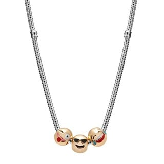 Women's Gold and Silvertone 3-charm Emoji Necklace