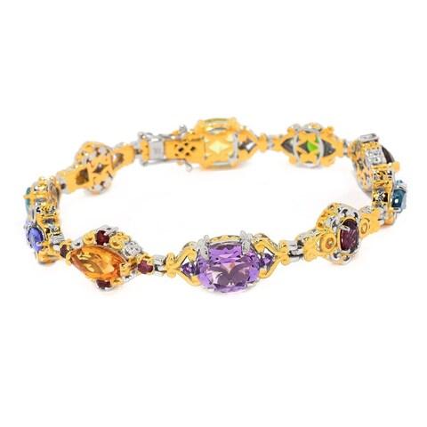 Michael Valitutti Palladium Silver Multi Gemstone Fancy Link Line Bracelet
