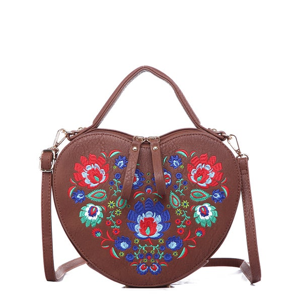 Pink Haley Bridget Faux Leather Floral Embroidered Crossbody Heart-shaped Bag - Free Shipping ...