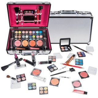 SHANY Carry All Makeup Train Case with Pro Makeup and Reusable White Aluminum Case