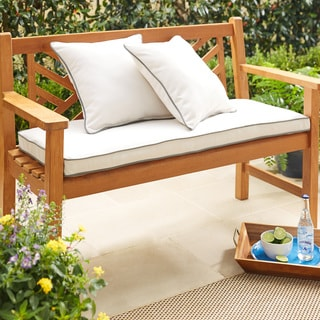 Sunbrella Canvas and Charcoal Indoor/ Outdoor Corded 60-inch Bench Cushion