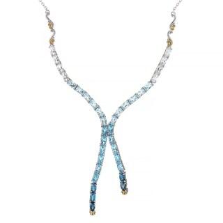 Michael Valitutti Palladium Silver Multi Color Ombre Topaz X-Necklace w/ 18 Chain and 2 Ext