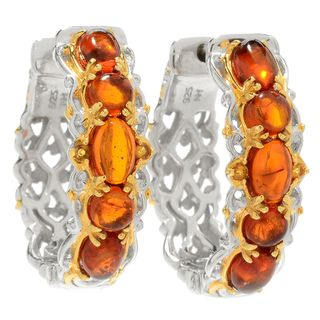 Michael Valitutti Palladium Silver Multi Shape Amber & Citrine Hoop Earrings