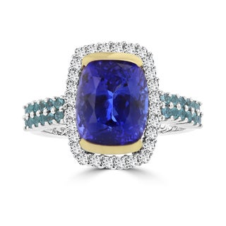 La Vita Vital 18k White/ Yellow Gold Cushion Tanzanite 4.73ct Paraiba Tourmaline 0.35ct and Diamond 0.35ct Ring