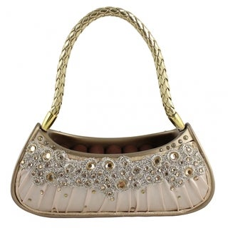 Dazzling Gems Gold Fabric Handbag Ring Holder