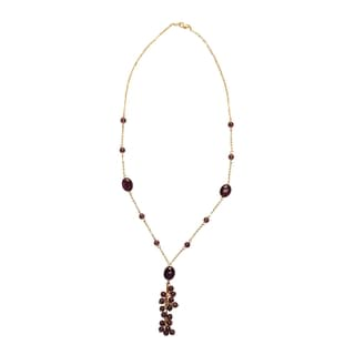14k Yellow Gold Purple Amethyst Pendant Necklace