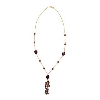 14k Yellow Gold Purple Amethyst Pendant Necklace