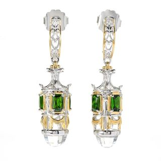Michael Valitutti Palladium Silver White Topaz & Chrome Diopside Dangle Earrings