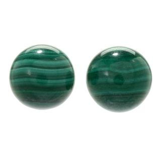 Michael Valitutti Palladium Silver Malachite Bead Stud Earrings