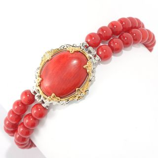 Michael Valitutti Palladium Silver Red Bamboo Coral Double-Row Toggle Bracelet