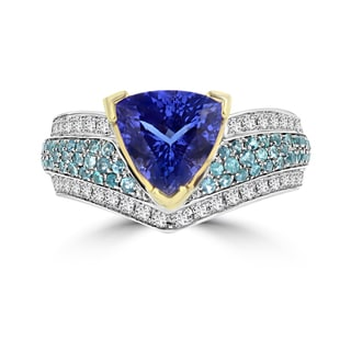 La Vita Vital 18K White Gold Trillion-cut 3ct Tanzanite Paraiba 1/2ct Tourmaline and 1/2ct TDW Diamond Ring (G-H, SI1-SI2)