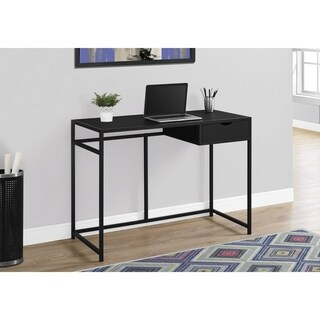 Black and Black Metal 42-inch Computer Desk