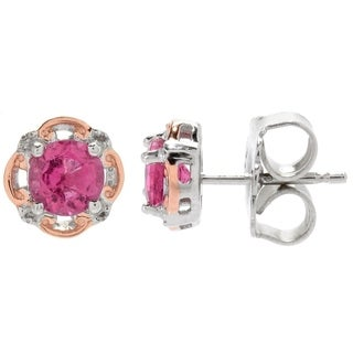 Michael Valitutti Palladium Silver Rubellite Scrollwork Halo Stud Earrings