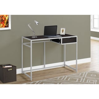 Cappuccino and Silver Metal 42-inch Computer Desk