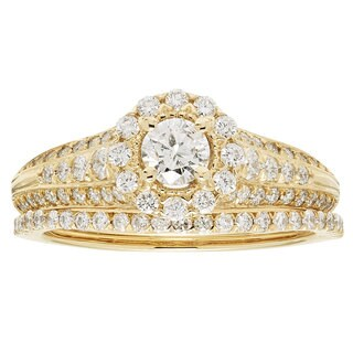 14k Yellow Gold IGI-certified 1ct TDW Round Diamond Bridal Ring Set