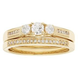 14k Yellow Gold IGI-certified 1/2ct TDW Round Diamond Bridal Ring Set