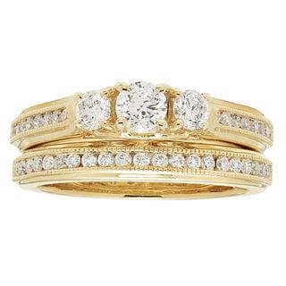 14 Karat Yellow Gold 1ct TDW Diamond Engagement Wedding Ring Set