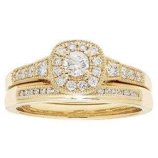 14k Yellow Gold IGI-certified 1/2ct TDW Round Diamond Bridal Ring Set (H-I, I1-I2)