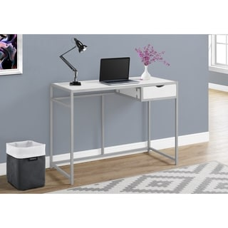 White 42-inch Computer Desk with silver Metal