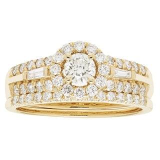 14k Yellow Gold IGI-certified 1ct TDW Round Diamond Bridal Ring Set (H-I, I1-I2)