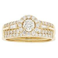 14k Yellow Gold IGI-certified 1ct TDW Round Diamond Bridal Ring Set