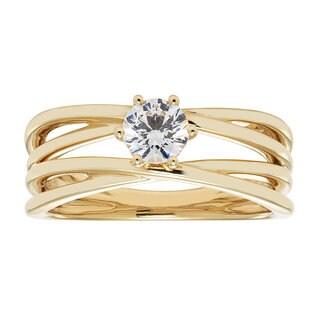 14k Yellow Gold IGI-certified 1/2ct TDW Round Diamond Bridal Ring Set