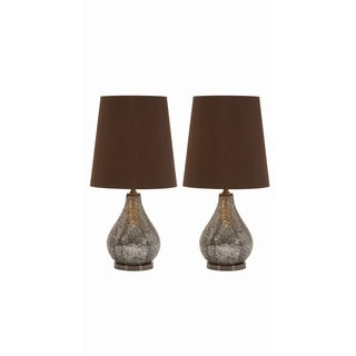 Madoline Brown/Silvertone Metal/Fabric Mosaic Accent Lamp Pair