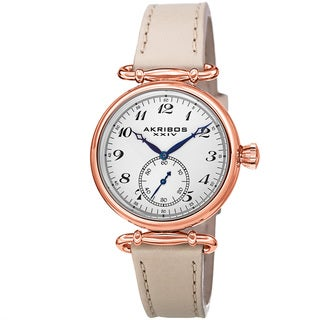 Akribos XXIV Women's Swiss Quartz Stainless Steel Cream Leather Strap Watch