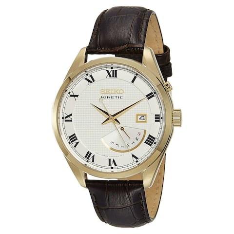 Seiko Men's SRN074 'Kinetic' Brown Leather Watch