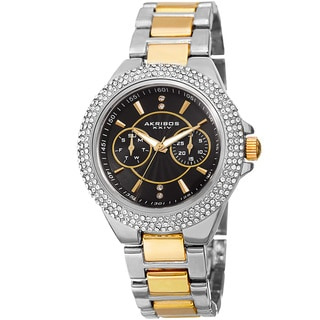 Akribos XXIV Women's Dazzling Swiss Quartz Multifunction Crystal Two-Tone Bracelet Watch