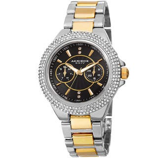 Akribos XXIV Women's Dazzling Swiss Quartz Multifunction Crystal Two-Tone Bracelet Watch with FREE GIFT|https://ak1.ostkcdn.com/images/products/13958222/P20587182.jpg?impolicy=medium