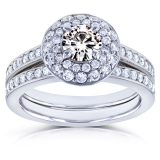 Annello by Kobelli 14k White Gold Moissanite and 3/5ct TDW Diamond Dome Double Halo Bridal Rings (G-H, I1-I2)