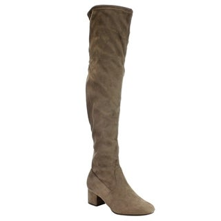 Cityclassified IC21 Women's Faux Suede Drawstring Wrapped Block-heel Over-the-Knee Boots