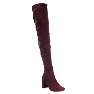 Speed Limit Women's Faux-suede Stretch Heel Over-the-knee Boots