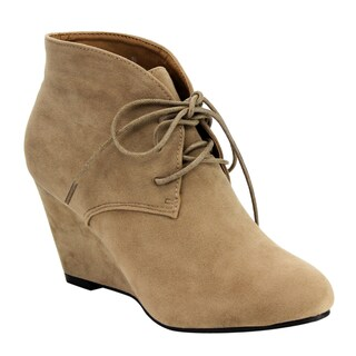 Beston DE06 Women's Lace-up Wrapped Heel Ankle Wedge Booties Run One Size Small (2 options available)