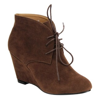 Beston DE06 Women's Lace-up Wrapped Heel Ankle Wedge Booties Run One Size Small (More options available)